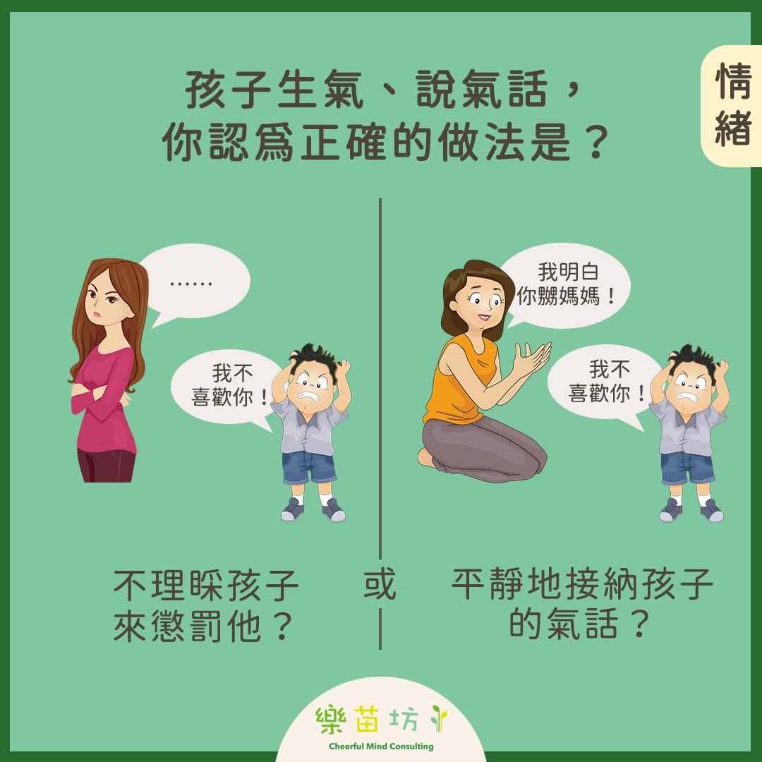 【父母小改變👩🏻🧑🏻 孩子大成長👧🏻🧒🏻 – 如何看待孩子生氣、說氣話 】#情緒  孩子生氣、說氣話,你認為正確的做法是