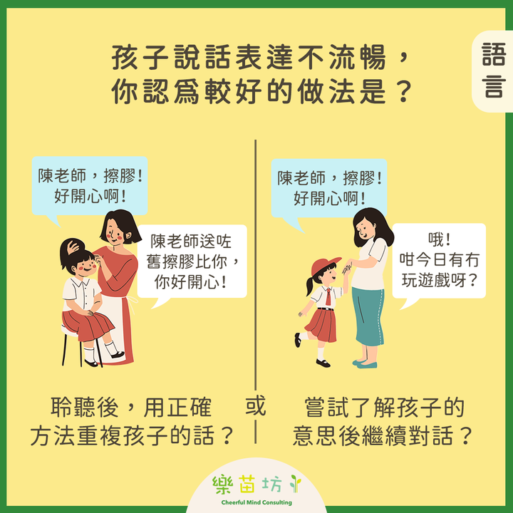【父母小改變👩🏻🧑🏻 孩子大成長👧🏻🧒🏻 – 言語能力對專注力和脾氣的影響 】#語言  孩子說話表達時不流暢,你認為較好