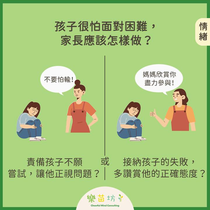 【父母小改變👩🏻🧑🏻 孩子大成長👧🏻🧒🏻 – 用正確態度面對困難 】#情緒  孩子很怕面對困難,家長應該怎樣做?  A: